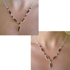 BALTIC HONEY or MULTICOLOR AMBER & STERLING SILVER NECKLACE CHOKER