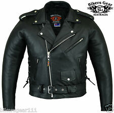 NEW MENS QUALITY LEATHER CLASSIC BRANDO MOTORCYCLE JACKET ALL SIZES