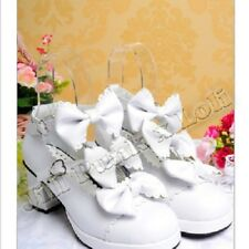 Lolita Baby Doll Bow Maid Scalloped Heel shoes 43~46 white