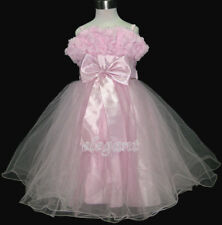 Pink Rosette Wedding Flower Girl Dress Pageant Gown Size 3-12 Age 2-13Y UK Ship