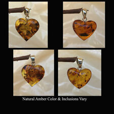 BALTIC MULTICOLOR AMBER & STERLING SILVER HANDMADE HEART PENDANT