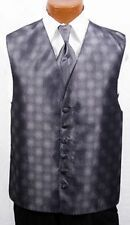 "Charcoal Silver Perry Ellis America ""Freedom"" Fullback Vest & Tie Grey Prom XL"