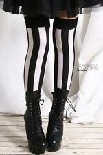 Punk EMO Gothic Black White Wide Verticle Stripe Burlesque Thigh Hi Stockings