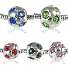 Soccer Football Silver CZ European Spacer Charm Bead For Bracelet Necklace