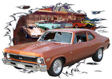 1970 Orange Chevy Nova SS Sedan Custom HotRod Diner T-Shirt 70, Muscle Car Tee's