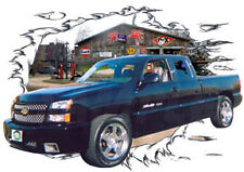 2006 Black Chevy Pickup Truck Custom Hot Rod Garage T-Shirt 06, Muscle Car Tee's