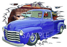 1949 Blue Chevy Pickup Truck Custom Hot Rod Diner T-Shirt 49,50, Muscle Car Tee