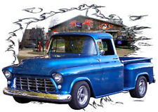 1955 Blue Chevy Pickup Truck c Custom Hot Rod Garage T-Shirt 55, Muscle Car Tee