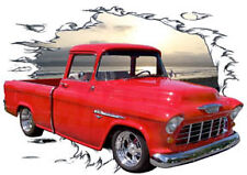 1955 Red Chevy Cameo Pickup Truck Custom HotRod Sun Set T-Shirt 55, Muscle Car T