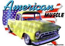 1957 Yellow Chevy Pickup Truck a Custom Hot Rod USA T-Shirt 57, Muscle Car Tee's