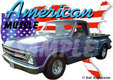 1967 Blue Chevy Pickup Truck b Custom Hot Rod USA T-Shirt 67, Muscle Car Tee's