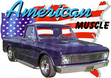 1967 Blue Chevy Pickup Truck c Custom Hot Rod USA T-Shirt 67, Muscle Car Tee's