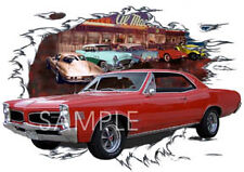 1966 Red Pontiac LeMans Custom Hot Rod Diner T-Shirt 66, Muscle Cars Tee's