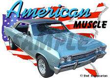 1967 Green Chevy Chevelle SS Custom Hot Rod USA T-Shirt 67, Muscle Car Tee's