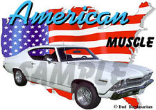 1969 White Chevy Chevelle Custom Hot Rod USA T-Shirt 69, Muscle Car Tee's