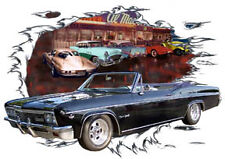 1966 Black Chevy Impala SS Convertible Hot Rod Diner T-Shirt 66, Muscle Car Tee