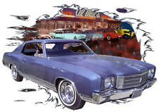 1970 Blue Chevy Monte Carlo Custom Hot Rod Diner T-Shirt 70, Muscle Car Tee's