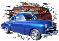 1950 Blue Chevy Sport Coupe Custom Hot Rod Diner T-Shirt 50, Muscle Car Tee's