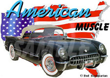 1954 Black Chevy Corvette Custom Hot Rod USA T-Shirt 54, Muscle Car Tee's