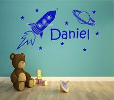 Space Rocket & Stars Kids Personalised Any Name Wall Art Mural Decal Sticker