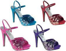 NEW Bev Sequin Evening Prom Sandals Platform Heels Purple Turquoise Fuchsia Red