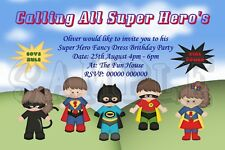 Personalised Super Hero Fancy Dress Birthday Party Invitations Superhero Invites