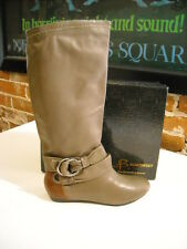 B Makowsky Rebay Taupe Leather Slouchy Boots