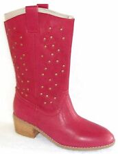NEW $189. TWIGGY LONDON RED LEATHER STUDDED COWBOY BOOTS