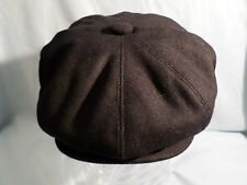 MENS RETRO VICTORIAN EDWARDIAN 1920'S BLACK NEWSBOY BAKER BOY 8-PANEL HAT