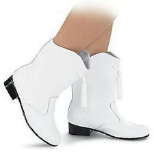 NEW Girls White Leather Majorette & Go-Go Dance Boots & Tassels Sizes 1 - 4.5