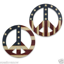 New Wooden American Flag Half Full Stars Peace Sign Wall Hanging Home Decor USA