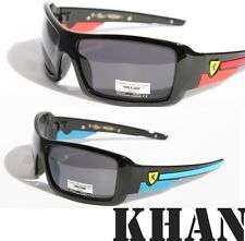 Mens Sunglasses KHAN eyewear SHIELD SPORTY WRAP AROUND BIKER SHADES Motor-Cycle