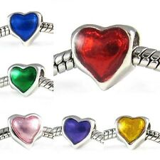 Wholesale Lot 10pcs Sweetie Heart Silver European Spacer Charm Bead For Bracelet
