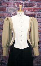 FRONTIER CLASSICS  Victorian Khaki/Creme/Black Fitted Old West Blouse Steampunk