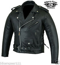 NEW MENS CE ARMORED LEATHER BRANDO MOTORCYCLE JACKET TOP QUALITY ALL SIZES