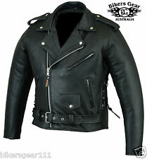 NEW MENS CE ARMOURED LEATHER BRANDO MOTORCYCLE JACKET TOP QUALITY ALL SIZES