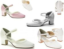 NEW Ginger Dyeable White Crepe Mary Jane Shoes Low Heels Satin Trim Medium, Wide