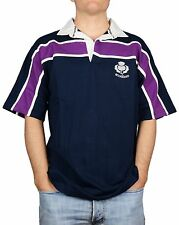 Mens Rugby Nations Scotland Rugby Shirt Short Sleeve, Navy & Purple Stripe