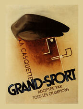 Fashion Man Smoking Grand Sport Cap Hat Casquette Vintage Poster Repro FREE S/H