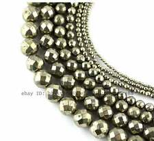 2,4,6,8,10,12mm Beautiful Pyrite round faceted loose Beads 15''
