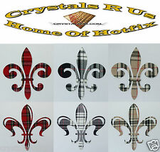 FABRIC TARTAN FLEUR DE LIS IRON-ON HOTFIX CUSTOMIZE CRAFT FASHION PARTY CLOTHES