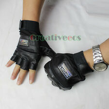 Man's Leather Motorcycle Bike Bicycle Cycling Sports Fitness Gloves Fingerless