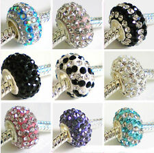 925 Sterling Silver CRYSTALS Charm Bead made with SWAROVSKI Elements ~ 9 COLOURS