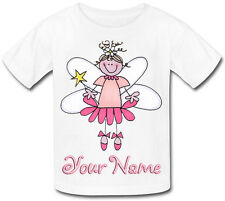 PINK FAIRY PERSONALISED GIRLS T-SHIRT - IDEAL GIFT FOR ANY CHILD & NAMED TOO !