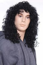 Deluxe Men Black Hair Long Curly Rocker Costume Wig in Black
