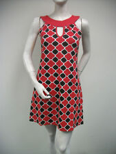 TRACY NEGOSHIAN Red Black White Print Coco Sleeveless Dress Mini NEW NWT