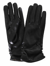 New Womens Pink Soft Long Winter Warm Faux Leather Gloves