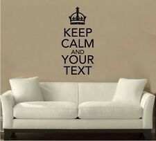Large Size Keep Calm 'Your Text' Custom Kitchen/Room Cupboard Wall Art Sticker