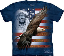 Spirit Of America with Native American & Eagle USA The Mountain Adult T-Shirts