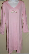 NWT CHARTER CLUB pink long sleeve owl front sleepwear pajama gown, size M,XL